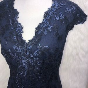 Sz 16 Tadashi Shoji formal navy blue gown